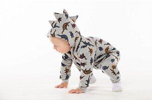 Pijama tamanhos P/M/G e 1 ao 8 em moletom flanelado com ziper e sem pezinho- DINO MESCLA