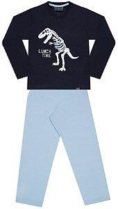 Pijama tamanho 4 a 16 em meia malha 100% algodao- COR AZUL MARINHO COM AZUL CLARO