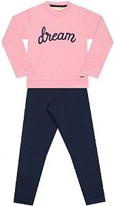 Conjunto tamanho 4 ao 16 em moletom flanelado com calca legging flanelada- COR ROSA COM MARINHO