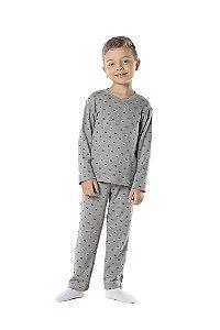 Pijama tamanho 4 a 16 em suedine 100% algodao. COR: CINZA MESCLA C/ MARINHO