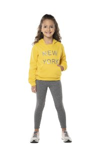 Conjunto tamanho 4 a 16 em moletom flanelado com calca legging flanelada- COR AMARELO