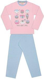 Pijama tamanho 4 a 16 em meia malha 100% algodao- COR ROSA COM AZUL CLARO