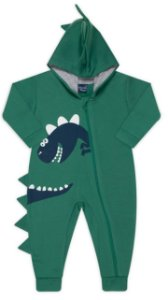 Pijama tamanho P ao 8 em moletom flanelado DINO com ziper e punhos- COR VERDE