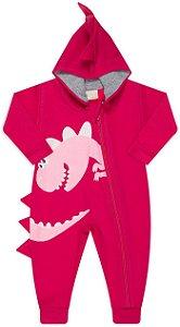 Pijama tamanho P ao 8 em moletom flanelado DINO com ziper e punhos- COR PINK