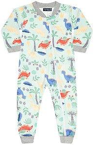 Pijama tamanho P ao 8 em tecido Slim-Soft levemente flanelado com ZIPER.  Com punhos na perna e nas mangas- COR VERDE