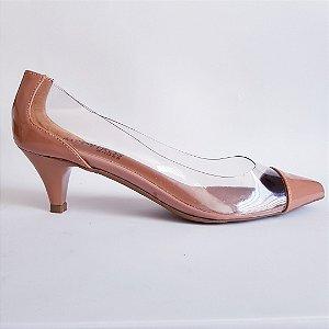 Scarpin salto 5 cm vinil transparente verniz - nude