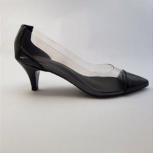Scarpin salto 5 cm vinil transparente verniz - preto