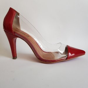 Scarpin salto 8 cm vinil transparente verniz - vermelho