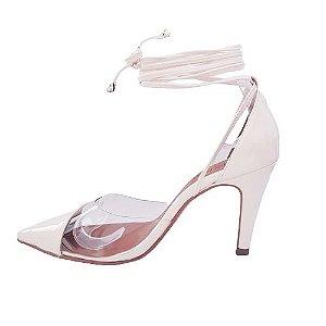 Scarpin salto 8 cm vinil transparente verniz com amarração - off white
