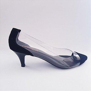 Scarpin salto baixo 5 cm vinil transparente nobuck - preto