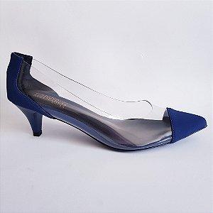 Scarpin salto baixo 5 cm vinil transparente nobuck - azul
