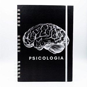 Caderno Universitário Espiral - Capa Preta Profissão Psicologia