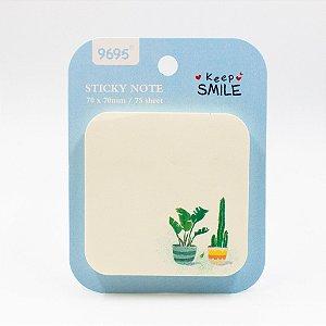 Bloco de Anotação Adesivo - Cactus ( vaso Verde com Listras)