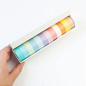 Fita Adesiva Decorativa Tons Pastel  Washi Tape kit c/12 und.