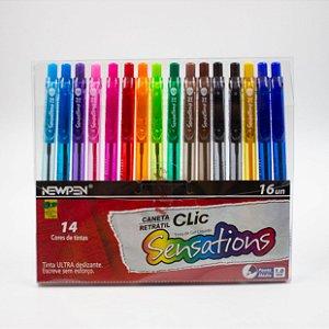 Caneta Gel Liquido Clic Sensations Coloridas c/16 pcs - Newpen