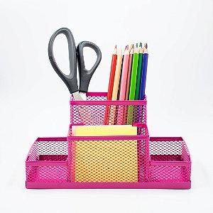 Porta Caneta Tela - 3 divisões - Pink