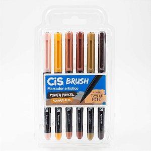 Marcador Artístico Ponta Pincel Cis Brush c/6 cores Tons de Pele