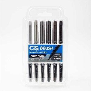 Marcador Artístico Ponta Pincel Cis Brush c/6 cores  Tons de Cinza