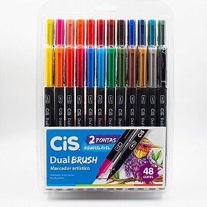 Marcador Artístico Cis Dual Brush c/2 Pontas Aquarelável c/48 Cores