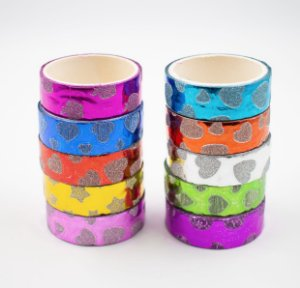 Fita Adesiva Decorativa  Washi Tape c/glitter decorado  kit c/10 und.