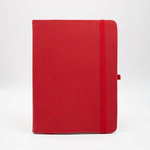 Caderno com Elástico sem Pauta Capa vermelha Folhas Pólen