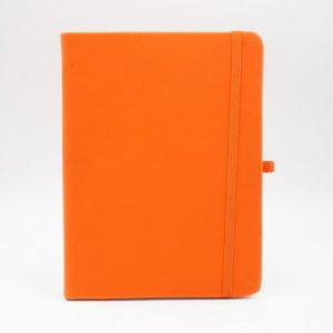 Caderno com Elástico com Pauta Capa Laranja Folhas Pólen