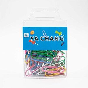 Clips de Papel Colorido Metal, Plástico 28mm Caixinha c/60 peças