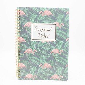 Caderno Espiral Tropical Vibes Flamingo  SL-NB0002