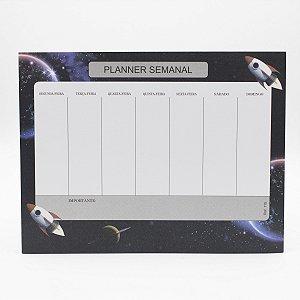 Bloco de Planner Minha Semana Tema Foguete c/24 Folhas