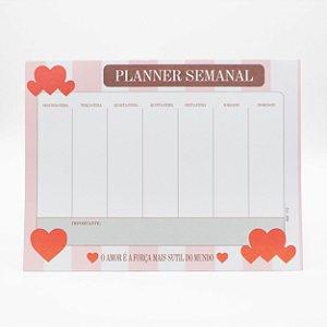 Bloco de Planner Minha Semana Tema Coração c/24 Folhas