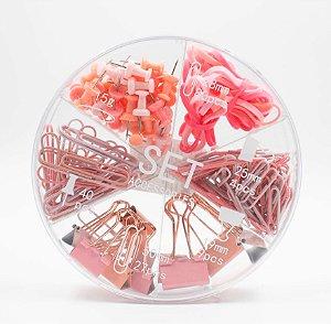 Kit Escritório Clips, Tachinha, binder clips, elástico cor Rosa Sl- 190089