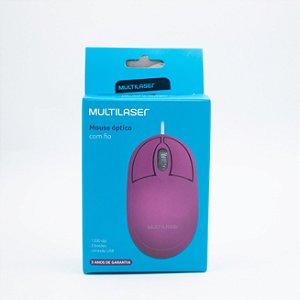 Mouse Óptico com Fio - Multilaser- MO304 (Rosa)