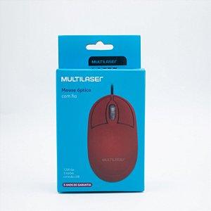 Mouse Óptico com Fio -  Multilaser - MO303 (Vermelho)