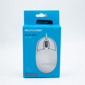 Mouse Óptico com Fio - Multilaser -MO302 (Branco)