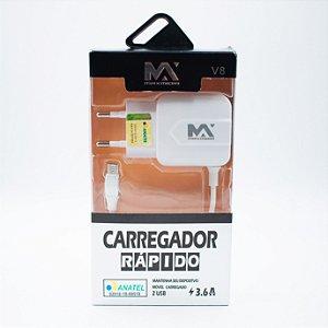 Carregador Rápido 2 USB 3.6A V8