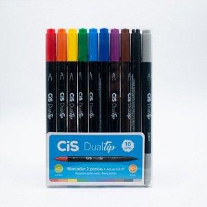 Marcador 2 Pontas Aquarelável  Cis Brush DualTip c/10 cores Básicas