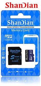 Cartão de Memória Shandian Micro SD  8 GB + Adaptador  + (Caixa de Plástico Grátis)