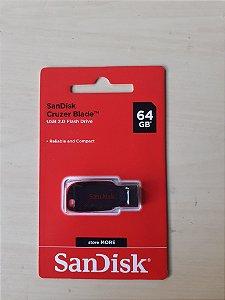 Pen drive Cruzer Blade Sandisk 64 GB + Original + Nota Fiscal + Lacrado