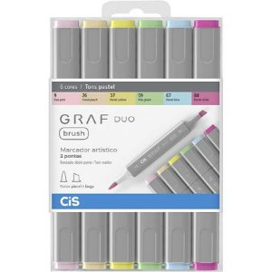 Marcador CIS Graf Duo Brush Pastel - 6 Cores