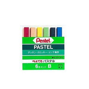 Giz Pastel Seco Pentel - 6 Cores