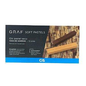 Giz Pastel Seco CIS Graf - 12 Tons de Marrom