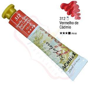 Tinta a óleo Acrilex Classic 20ml - Vermelho Cádmio 312