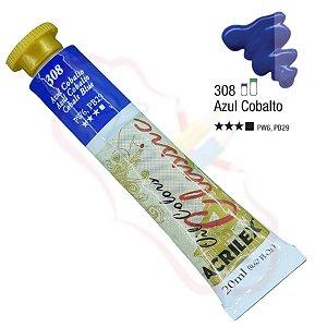 Tinta a óleo Acrilex Classic 20ml - Azul Cobalto 308