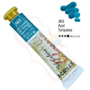 Tinta a óleo Acrilex Classic 20ml - Azul Turquesa 363