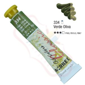 Tinta a óleo Acrilex Classic 20ml - Verde Oliva 334