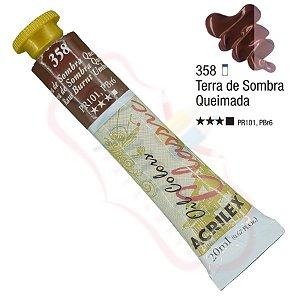 Tinta a óleo Acrilex Classic 20ml - Terra de Sombra Queimada 358