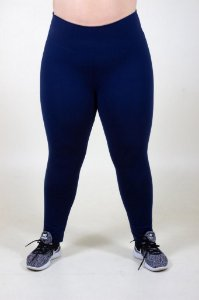Leging azul marinho lisa plus size
