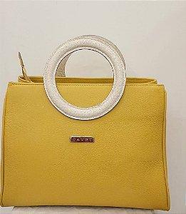 Bolsa catri em couro cor amarelo