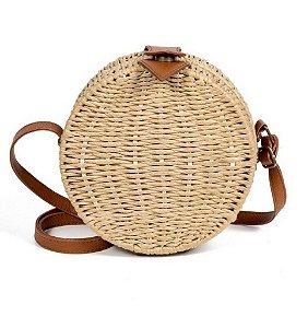 Bolsa de palha redonda tiracolo