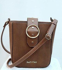 Mini bolsa rafitthy tiracolo cor marrom